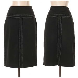 Express Black & White Line Accent Pencil Skirt
